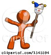 Orange Design Mascot Man Holding Jester Staff Posing Charismatically