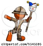 Orange Explorer Ranger Man Holding Jester Staff Posing Charismatically