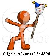 Orange Design Mascot Woman Holding Jester Staff Posing Charismatically