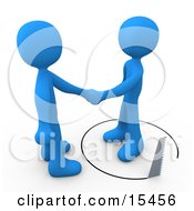 Unsuspecting Blue Man Shaking Hands On A Deal With Another Man As A Saw Cuts A Circle Out From Under Him Clipart Illustration Image