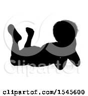 Silhouetted Boy Resting With A Reflection Or Shadow On A White Background