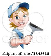Clipart Of A White Female Window Cleaner Holding A Squeegee Around A Sign Royalty Free Vector Illustration