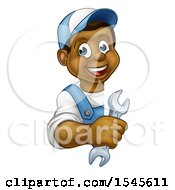 Cartoon Happy Black Male Plumber Holding A Spanner Wrench Around A Sign