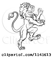 Black And White Heraldic Rampant Lion