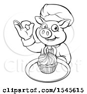 Lineart Chef Pig Holding A Cupcake On A Tray And Gesturing Okay