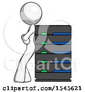 White Design Mascot Woman Resting Against Server Rack
