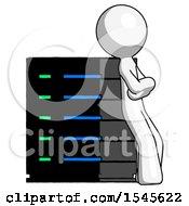 White Design Mascot Man Resting Against Server Rack Viewed At Angle