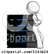 White Design Mascot Woman Resting Against Server Rack Viewed At Angle