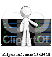White Design Mascot Man With Server Racks In Front Of Two Networked Systems