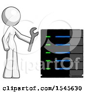 White Design Mascot Woman Server Administrator Doing Repairs