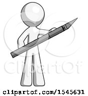 White Design Mascot Man Holding Large Scalpel