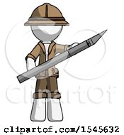 White Explorer Ranger Man Holding Large Scalpel