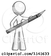 White Design Mascot Woman Holding Large Scalpel