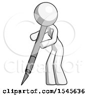 White Design Mascot Woman Cutting With Large Scalpel