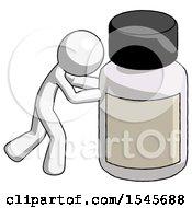 White Design Mascot Man Pushing Large Medicine Bottle