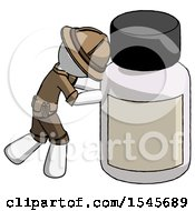 White Explorer Ranger Man Pushing Large Medicine Bottle