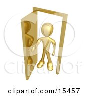 Gold Figure Standing In An Open Doorway Uncertain Of Whether Or Not To Enter Symbolizing Opportunity