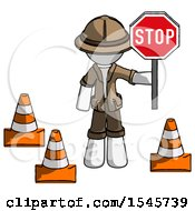 White Explorer Ranger Man Holding Stop Sign By Traffic Cones Under Construction Concept
