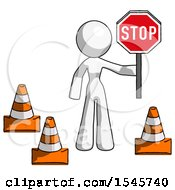 White Design Mascot Woman Holding Stop Sign By Traffic Cones Under Construction Concept