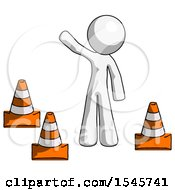 White Design Mascot Man Standing By Traffic Cones Waving