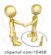 Unsuspecting Gold Man Shaking Hands On A Deal With Another Man As A Saw Cuts A Circle Out From Under Him