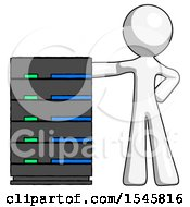 White Design Mascot Man With Server Rack Leaning Confidently Against It