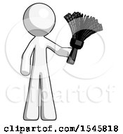 White Design Mascot Man Holding Feather Duster Facing Forward