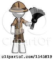 White Explorer Ranger Man Holding Feather Duster Facing Forward
