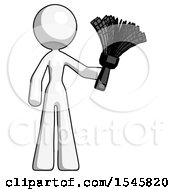 White Design Mascot Woman Holding Feather Duster Facing Forward
