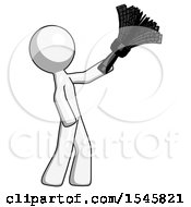 White Design Mascot Man Dusting With Feather Duster Upwards