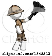 White Explorer Ranger Man Dusting With Feather Duster Upwards