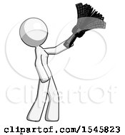White Design Mascot Woman Dusting With Feather Duster Upwards