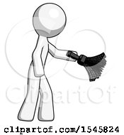 White Design Mascot Man Dusting With Feather Duster Downwards