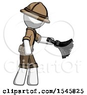 White Explorer Ranger Man Dusting With Feather Duster Downwards