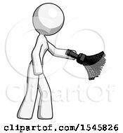 White Design Mascot Woman Dusting With Feather Duster Downwards