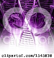 3d Purple Dna Strand And Virus Background