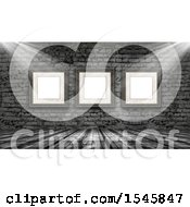 Clipart Of A 3d Wood Floor And Brick Wall With Light Shining On Blank Picture Frames Royalty Free Illustration