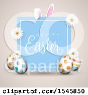 Poster, Art Print Of Happy Easter Greeting With Eggs Daisy Flowers And Bunny Ears