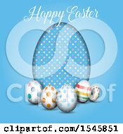 Happy Easter Greeting With Eggs On Blue