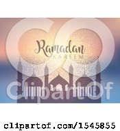 Clipart Of A Silhouetted Mosque With Ramadan Kareem Text Royalty Free Vector Illustration by KJ Pargeter