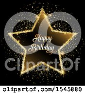 Clipart Of A Golden Glitter Happy Birthday Star On Black Royalty Free Vector Illustration