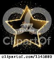 Golden Glitter Happy Birthday Star On Black