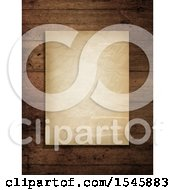 Clipart Of A Crinkled Aged Paper On Wood Royalty Free Illustration
