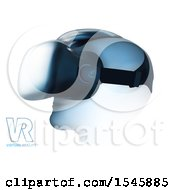 Head Wearing Virtual Reality Goggles With Text On A White Background