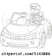 Lineart Happy Man Driving A Convertible Car