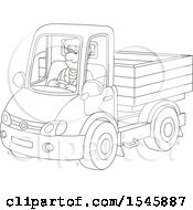 Clipart Of A Lineart Man Driving A Pickup Truck Royalty Free Vector Illustration