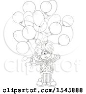 Clipart Of A Lineart Clown With Birthday Party Balloons Royalty Free Vector Illustration