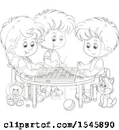Lineart Cat Watching A Group Of Children Play Checkers At A Table