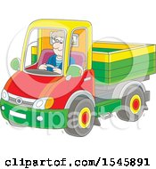 Clipart Of A White Man Driving A Pickup Truck Royalty Free Vector Illustration