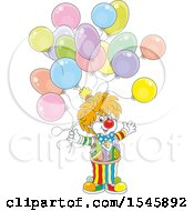 Clipart Of A Party Clown With Birthday Balloons Royalty Free Vector Illustration